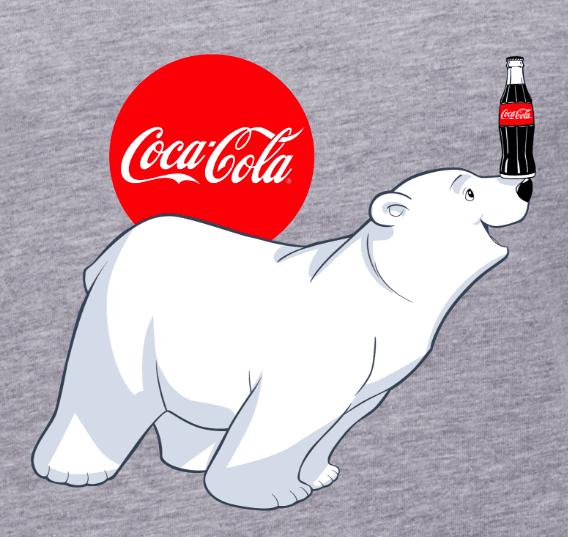 طراحی آرم کوکا کولا با خرس قطبی در پس زمینه خاکستری