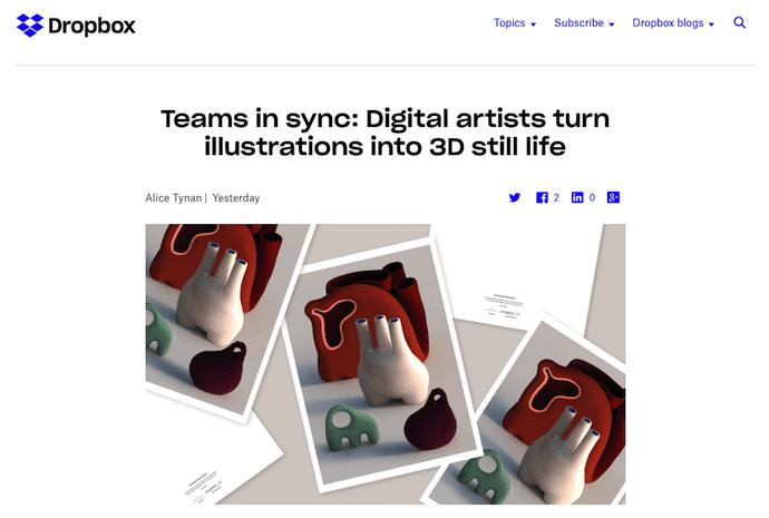 وبلاگ Dropbox را در طراحی های دیجیتال