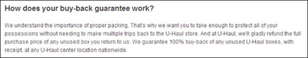 تضمین خرید مجدد شرکت U-Haul برای جعبه های استفاده نشده