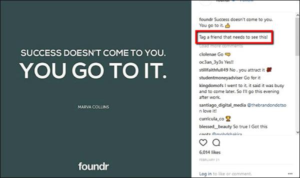 یک مثال از یک پست اینستاگرم از fondr که دستور به مردم برچسب دوستان خود