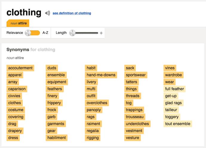 طوفان مغزی ورزش با استفاده از Thesaurus.com به جستجو برای مترادف لباس.